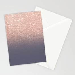 Modern faux rose gold glitter ombre gradient on purple grey Stationery Cards