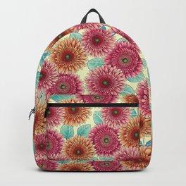 Gerbera Daisies - Pink, Yellow & Teal Floral Backpack