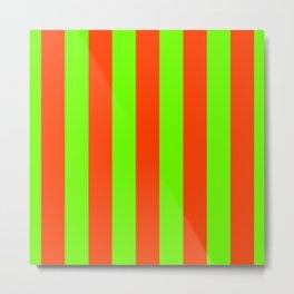 Bright Neon Green and Orange Vertical Cabana Tent Stripes Metal Print