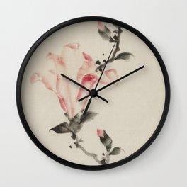 Pink Blossom on a Stem, Japanese fine art Wall Clock