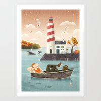 lighthouse Art Prints featuring Lighthouse by Seaside Spirit
