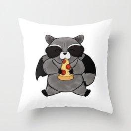 three wise raccoon pizza Throw Pillow