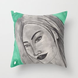girl infront of a gre bacground Throw Pillow