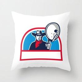 Cowboy Aiming Satellite Dish Half Circle Retro Throw Pillow