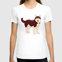 husky T-shirts featuring Husky Dog by TinyBee