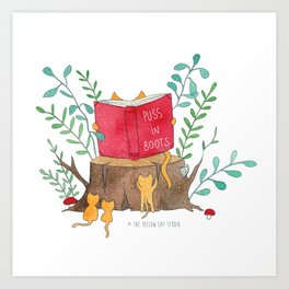 Cats reading in the forest - Puss in Boots - Watercolor illustration Art Print