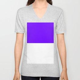 White and Indigo Violet Horizontal Halves Unisex V-Neck