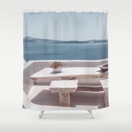 Santorini Lunch Shower Curtain