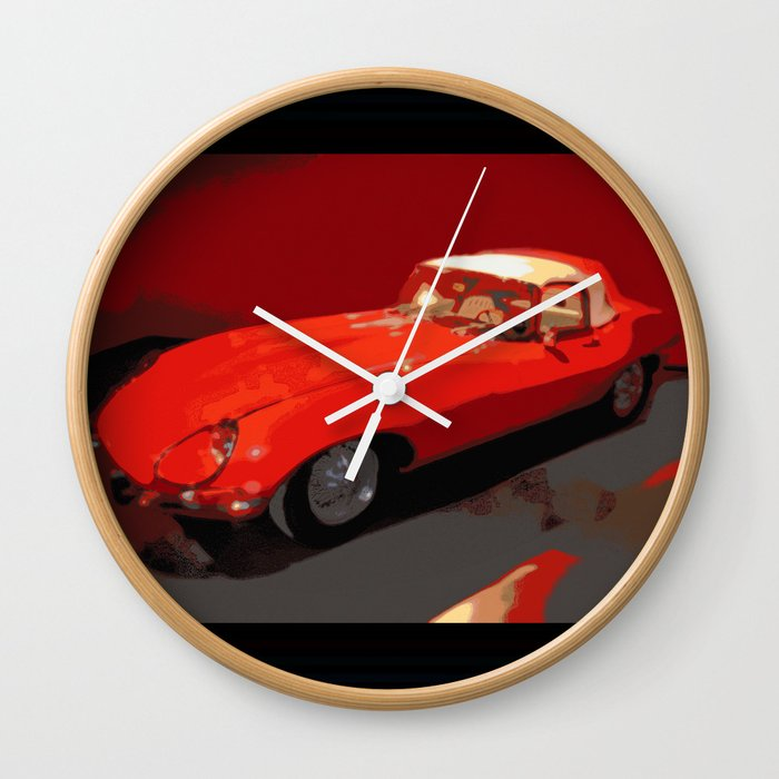 Car Cars Vintage 1969 Jaguar Nadia Bonello Wall Clock By