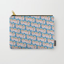 'Smile' Trendy Rainbow Text Pattern (Blue) Carry-All Pouch