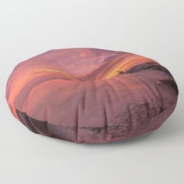 Magnificent Rocky Beach At Beautiful Evening Red Violet Hue High Resolutions Floor Pillow