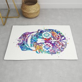 Sugar Skull Art Colorful Blue Purple Watercolor Gift Mexican Skull Art Day of the Dead Gift Rug