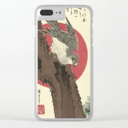 Utagawa Hiroshige - Hawk on Pine Tree Clear iPhone Case