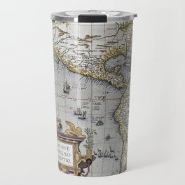 America Old Map 1570 Travel Mug