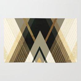 Rustic Black and Gold Geometric Rug