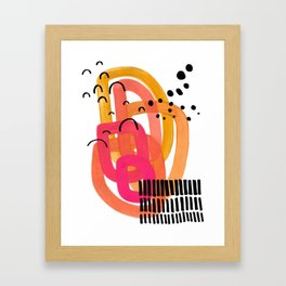 Modern Mid Century Fun Colorful Abstract Minimalist Painting Ombre Yellow Magenta Infinity Circles Framed Art Print