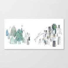 Mountains and the city Canvas Print