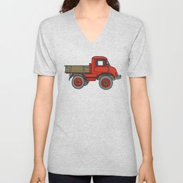 Red truck / transporter Unisex V-Neck