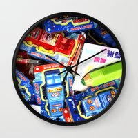robots Wall Clocks featuring Robots by Tim Lute