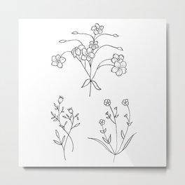 Wildflower Bouquet Trio Illustration Metal Print