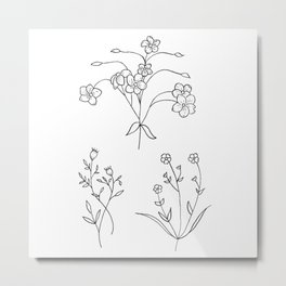 Wildflower Bouquet Trio Illustration Metal Print