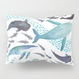 Sharks, Humpback Whales, Orcas & Turtles Ocean Play Print Pillow Sham