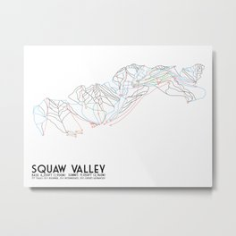 Squaw Valley, CA - Minimalist Trail Map Metal Print