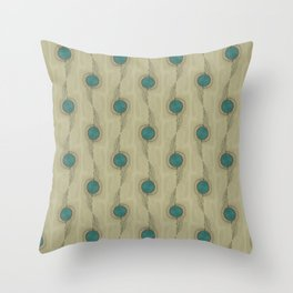 Abstract Peacock Feathers Teal Turquoise Circles Pattern Modern - Corbin Henry Throw Pillow
