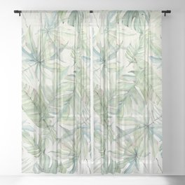 Green Tropical Leaves Sheer Curtain