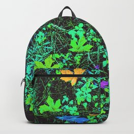 maple leaf in pink blue green orange with green creepers plants Backpack
