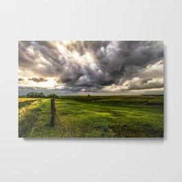 The Prairie - Golden Light Drenches Landscape After Storms in Nebraska Metal Print