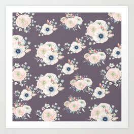 Dog Rose Pattern  Mauve Art Print