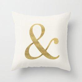 Gold Glitter Ampersand Throw Pillow