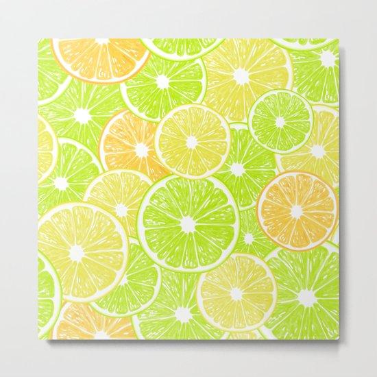Lemon, orange and lime slices pattern design Metal Print