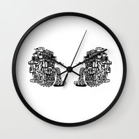 cafe Wall Clocks featuring CAFE by TortueMasquee