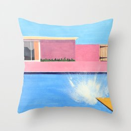 Splash! after David Hockney Throw Pillow