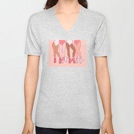 Let's Roll - Rollerskate Girls Pink Version Unisex V-Neck