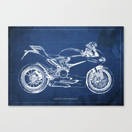 Blueprint, Superbike 1299 Panigale, 2015,brown background, gift for men, classic bike Canvas Print