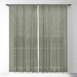 Lines (Olive Green) Sheer Curtain