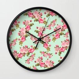Roses, Flowers, Petals, Leaves - Pink Green Wall Clock