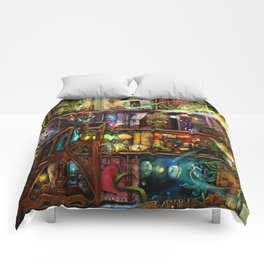 The Fantastic Voyage - a Steampunk Book Shelf Comforters