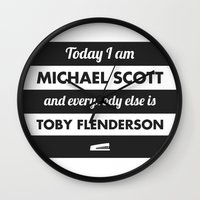 michael scott Wall Clocks featuring Today I am Michael Scott by The LOL Shop