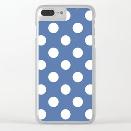Blue yonder - blue - White Polka Dots - Pois Pattern Clear iPhone Case