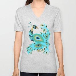 Peacock – Turquoise & Gold Unisex V-Neck