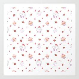 Cute lavender pink strawberries sweet cupcake pattern Art Print