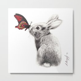 Rabbit and butterfly Metal Print