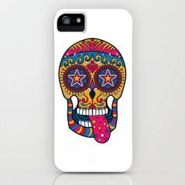 Colourful 80s-Style Sugar Skull iPhone Case
