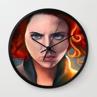 black widow Wall Clocks featuring Black Widow by Peach Momoko