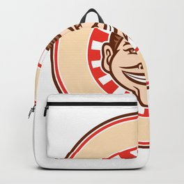 Grinning Funny Face Mascot Circle Retro Backpack