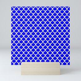 Scales (White & Blue Pattern) Mini Art Print
